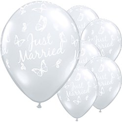 "Just Married Butterflies Diamond Clear Balloons - 16"" Latex"