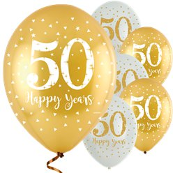 'Happy 50 Years' Golden Anniversary Latex Balloons - 11""