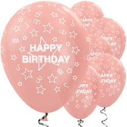 Happy Birthday Rose Gold Stars Balloon - 12