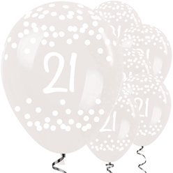 21st Birthday Clear Dots Balloons - 12
