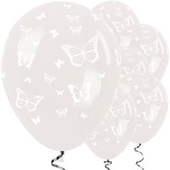 "Crystal Clear Butterfly Balloons - 12"" Latex"
