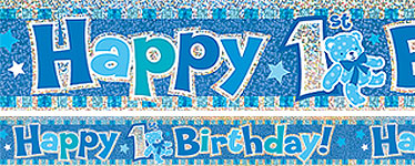 Happy 1st Birthday Blue Banner - 3.7m