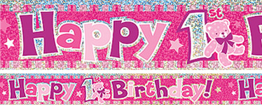 Happy 1st Birthday Pink Banner - 3.7m