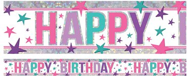 Holographic Happy Birthday Pink Foil Banner - 2.7m