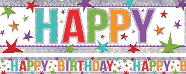 Holographic Happy Birthday Multi Coloured Banner