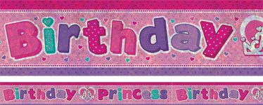 Holographic Birthday Princess Foil Banner - 2.7m