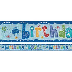 Holographic Birthday Boy Foil Banner - 2.7m