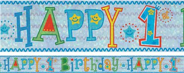 Holographic Happy 1st Birthday Boy Foil Banner - 2.7m