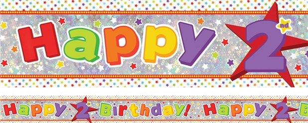 Holographic Happy 2nd Birthday Multi Coloured Banner - 2.7m