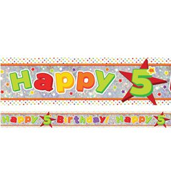 Holographic Happy 5th Birthday Multi Coloured Foil Banner - 2.7m