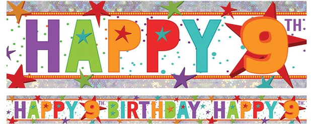 Holographic Happy 9th Birthday Multi Coloured Foil Banner - 2.7m