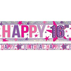 Holographic Happy 16th Birthday Pink Foil Banner - 2.7m