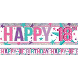 Holographic Happy 18th Birthday Pink Foil Banner - 2.7m