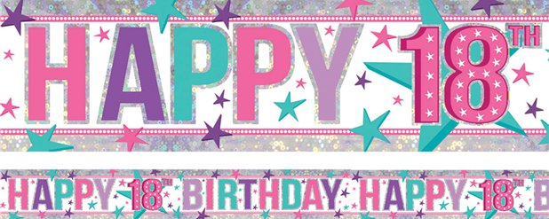 Holographic Happy 18th Birthday Pink Foil Banner