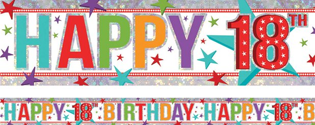 Holographic Happy 18th Birthday Multi Coloured Foil Banner - 2.7m