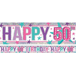 Holographic Happy 50th Birthday Pink Foil Banner - 2.7m