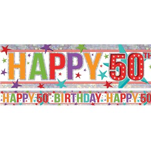 Holographic Happy 50th Birthday Multi Coloured Foil Banner - 2.7m
