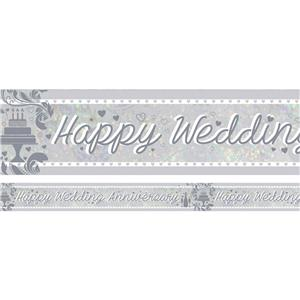 Holographic Happy Anniversary Foil Banner - 2.7m