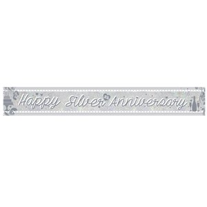 Holographic Silver Anniversary Foil Banner - 2.7m