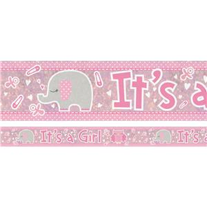 Holographic It's a Girl Foil Banner - 2.7m
