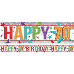 Holographic Happy 70th Birthday Multi Coloured Foil Banner - 2.7m