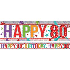 Holographic Happy 80th Birthday Multi Coloured Foil Banner - 2.7m