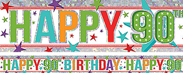 Holographic Happy 90th Birthday Multi Coloured Foil Banner