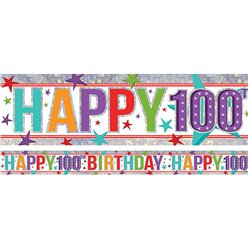 Holographic Happy 100th Birthday Multi Coloured Foil Banner - 2.7m
