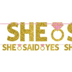 She Said Yes Glitter Letter Banner - 1.3m