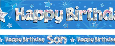 Happy Birthday Son Blue Foil Banner - 2.7m