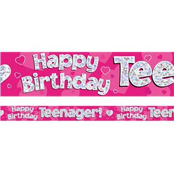Happy Birthday Teenager Pink Foil Banner - 2.7m