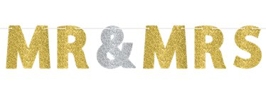 Mr & Mrs Ribbon Glitter Banner