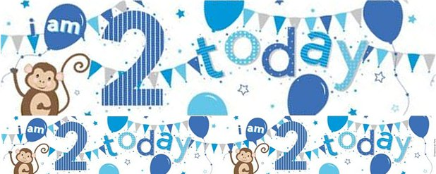 Monkey 2nd Birthday Foil Banner - 2.6m