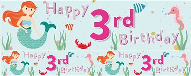 Mermaid 3rd Birthday Foil Banner 2.6m