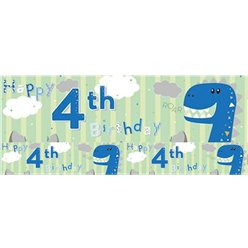 Dinosaur 4th Birthday Foil Banner 2.6m