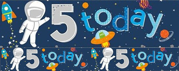 Space 5th Birthday Foil Banner - 2.6m