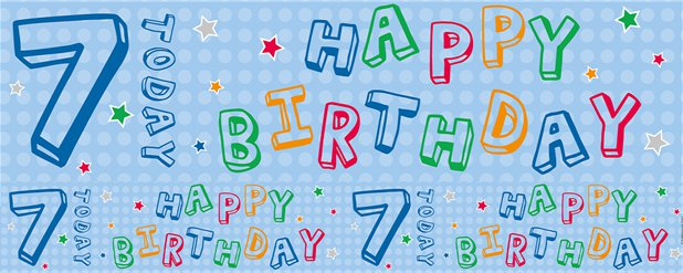 Blue 7th Birthday Foil Banner - 2.6m
