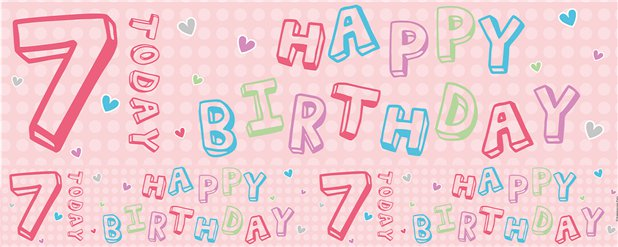 Pink 7th Birthday Foil Banner - 2.6m
