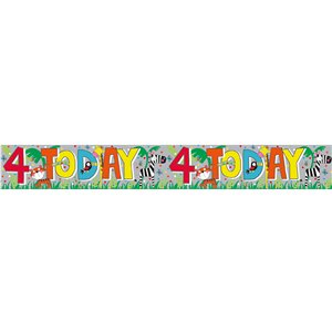 Holographic Animals 4th Birthday Foil Banner - 2.6m