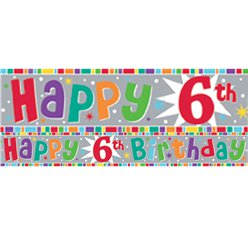 Holographic 6th Birthday Foil Banner - 2.6m