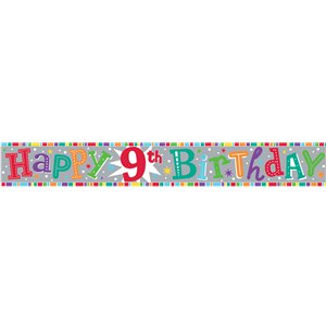 Holographic 9th Birthday Foil Banner - 2.6m