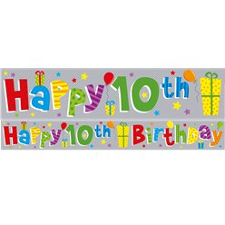 Holographic 10th Birthday Foil Banner - 2.6m