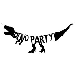 Dino Party Silhouette Banner - 90cm