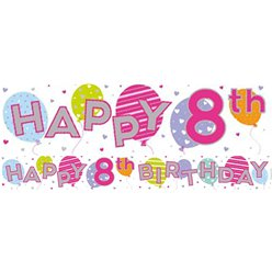 Balloons 8th Birthday Foil Banner - 2.6m