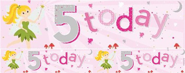 Fairy 5th Birthday Foil Banner - 2.6m