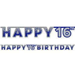 Blue 16th Birthday Letter Banner