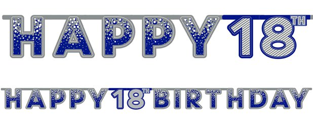 Blue 18th Birthday Letter Banner