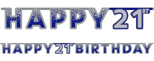 Blue 21st Birthday Letter Banner