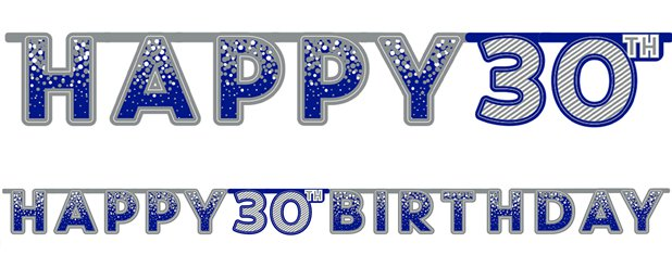 Blue 30th Birthday Letter Banner