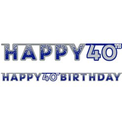 Blue 40th Birthday Letter Banner